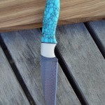 Turquoise and white Corian on a Munin pattern