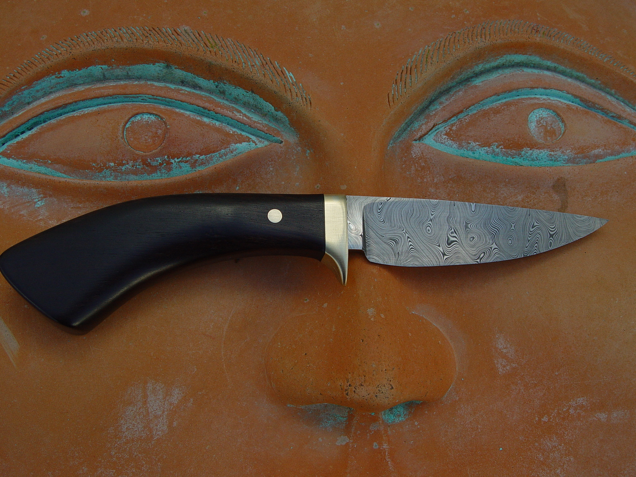 Bjorkmann twist blade with brass bolster and pin. handle is Ebony