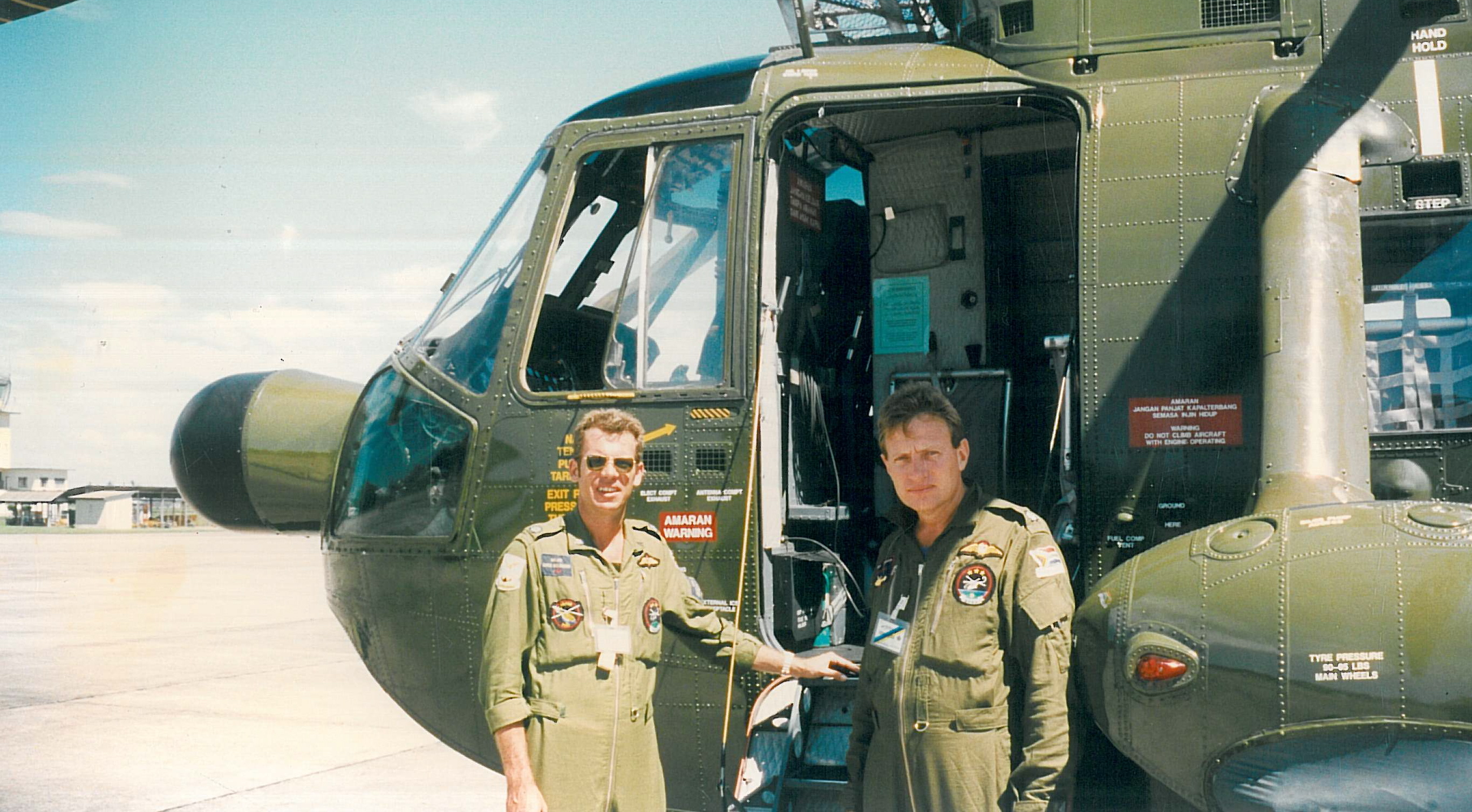 Gees and me at one of the Malaysian Chopper Squadrons looking at the S61